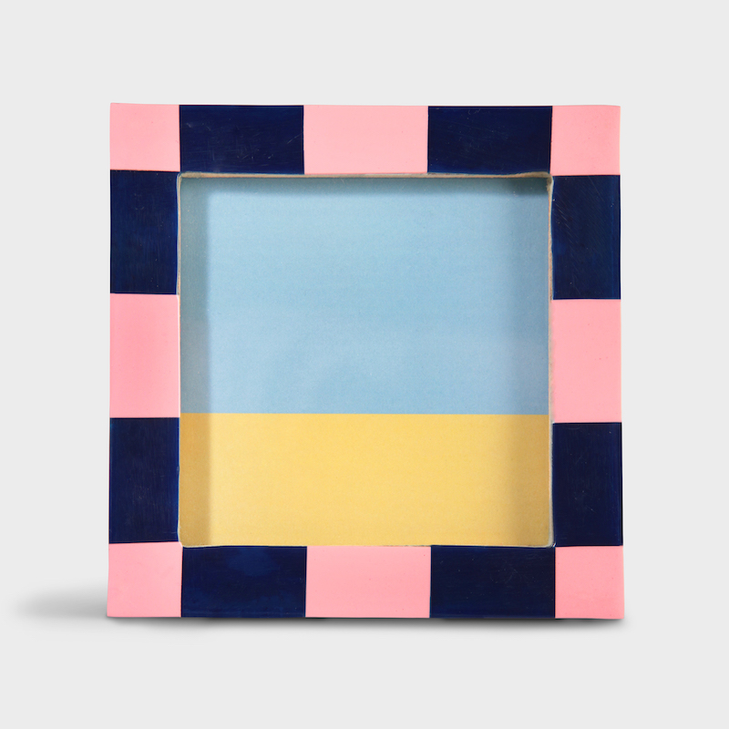 Square Photo Frame/Pink Check