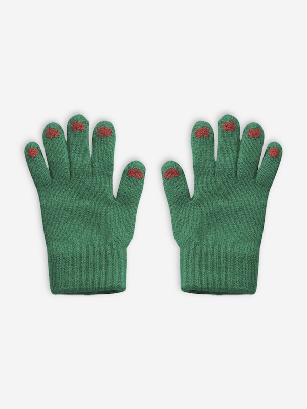 Hands Green Knitted Gloves